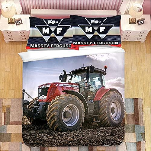 YOMOCO Juego de ropa de cama con diseño de tractor, impresión 3D, suave, agradable al tacto y no irritante, para niños, adultos y adultos (A02,220 x 240 cm + 80 x 80 cm x 2).