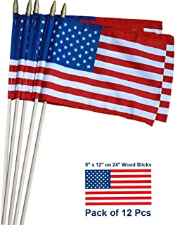 Pack of 12 - US Stick Flag Standard 8 x 12 Inch Spearhead Handheld American Stick Flags on 24