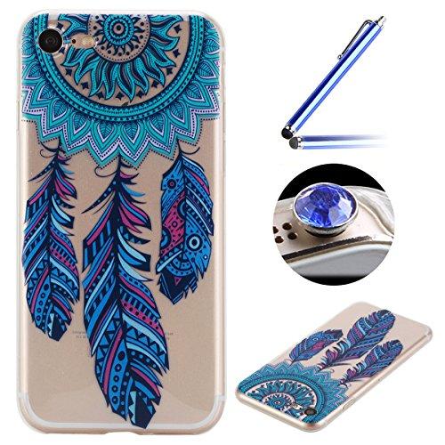 Etsue Doux Protecteur Coque pour iPhone 7,TPU Matériau Frame est Transparent Soft Cover pour iPhone 7,Coloré Motif par Dessin de Mode Case Coque pour iPhone 7 + 1 x Bleu stylet + 1 x Bling poussière plug (couleurs aléatoires)-Campanule Bleu