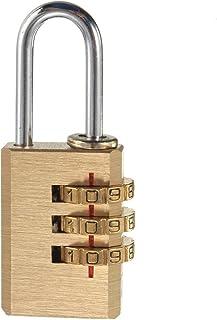 高品質南京錠ソリッドブラスロック数字組み合わせパスワード秘密コードジム用屋外ロッカーケース銅ステンレス鋼 (Color : Gold)