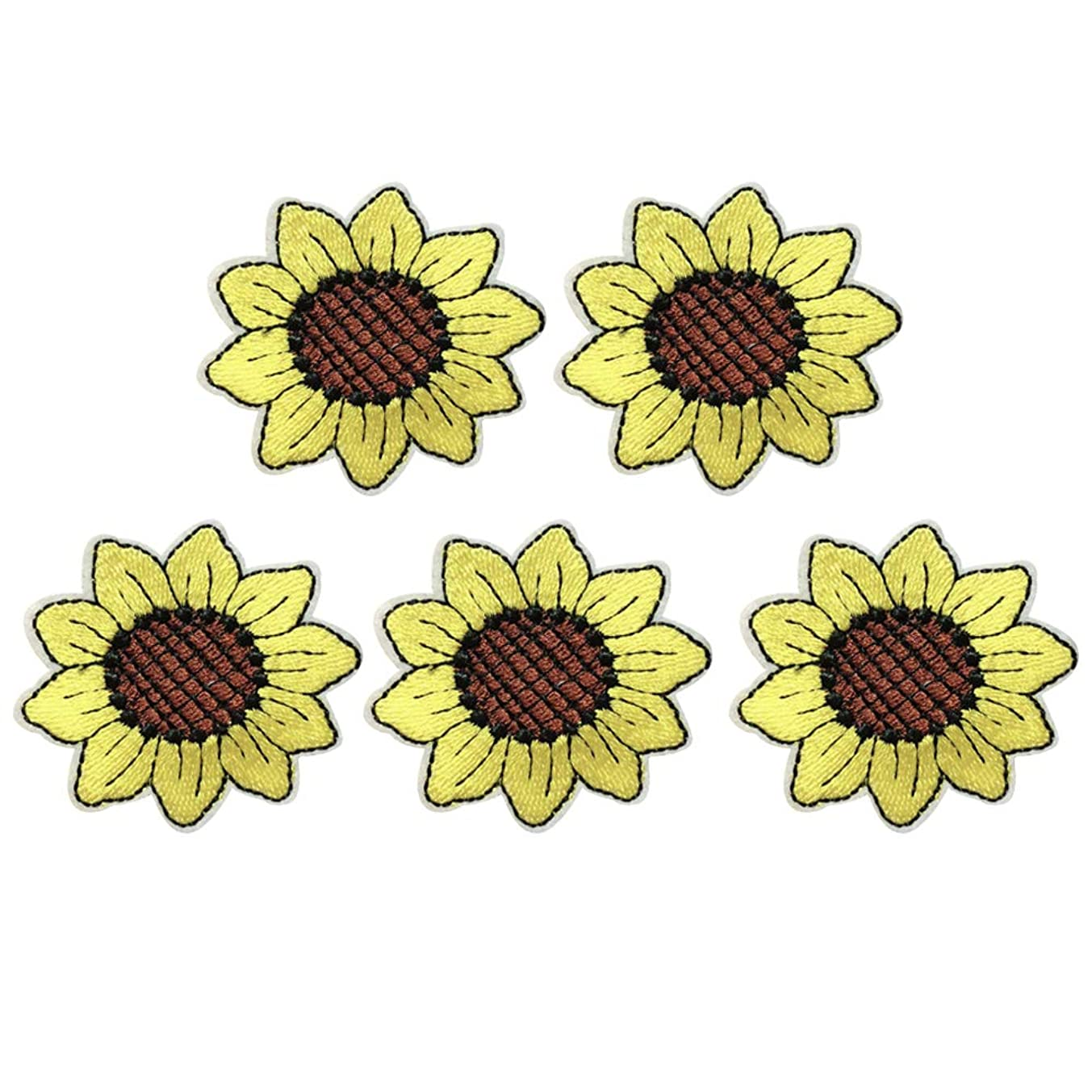 XUNHUI Flower Patch Embroidery Sunflower Iron On Patch for Clothing Craft Small Yellow Flower Cute Repair Stciker for Dress Hat Bags 5 Pieces