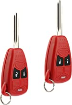 Key Fob Keyless Entry Remote fits Chrysler Aspen Pt Cruiser / Dodge Caliber Dakota Durango Magnum Nitro Ram / Jeep Compass Patriot Wrangler / Mitsubishi Raider (Red), Set of 2