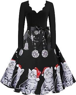 Vestido Navideño Vintage, Vestido de Fiesta de Noche de Cuello Redondo de Manga Larga de Las Mujeres Vestido de cóctel de ...
