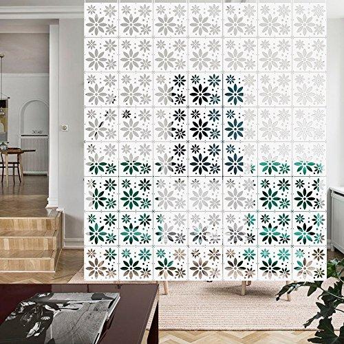 Yizunnu - Juego de 12 paneles separadores de ambientes (madera/plástico, para colgar en la pantalla, plegable, 29 x 29 cm), diseño de flores