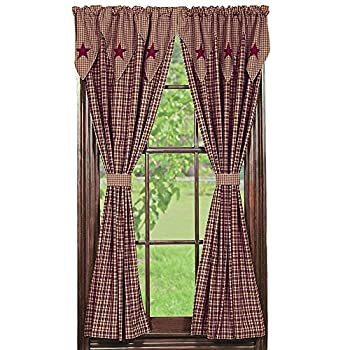 IHF Home Decor Vintage Star Wine Design Panel Window Treatment Curtains Panels 100% Cotton Fabric 72 X 63 Inches