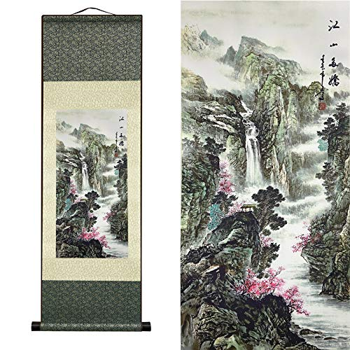 HCOZY Chinese Traditional Silk Scroll Painting,Modern Landscape Hanging Paintings Forbedroom Living Room Decoration Landscape Painting Series (The Land is Full of Beauties)