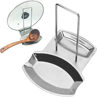 Spoon Rest and Pot Lid Holder, Stainless Steel Pan Pot Cover Lid Rack Shelf Stand Holder Spoon Holder Utensil Rest Stove Organizer Storage Soup Spoon Rests Kitchen Tool