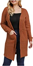 TWGONE Womens Fall Clothes Cardigan Plus Size Knitting Open Cape Casual Coat Blouse Kimono Jacket with Pocket
