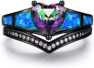 iGEM 2Pcs Ring/Set Heart Rainbow Topaz Blue Fire Opal CZ Black Gold Wedding Band Ring (10)