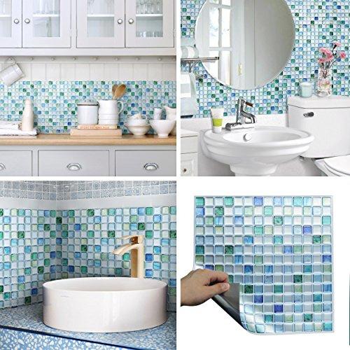 BEAUS TILE Teja Decorativa Pegatinas Peel Palo Protector contra Salpicaduras ignífugo Hoja del azulejo (Azul Zafiro) (10 Piezas)