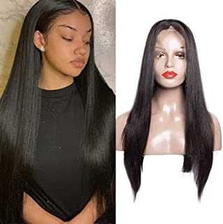 Maxine Glueless Full Lace Human Hair Wigs With Baby Hair Straight Wave 180% Density Natural Black Brazilian Virgin Hair Pre Plucked Full Lace Wigs For Black Women Natural Color 16inches