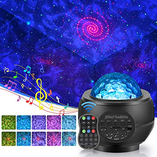 Starry Night Light Projector,3 in 1 Galaxy Light Projector LED Ocean Wave Nebula Clouds with Remote Control, Bluetooth Speaker, Star Light for Nursery, Baby, Ceiling, Bedroom Birthday Party Wedding