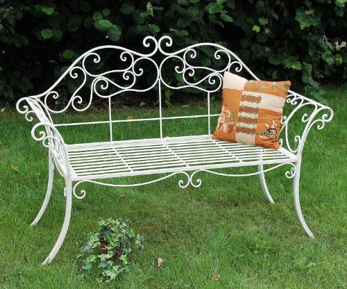 DanDiBo Gartenbank Romance Weiß 111183 Bank 146 cm aus Schmiedeeisen Metall Sitzbank