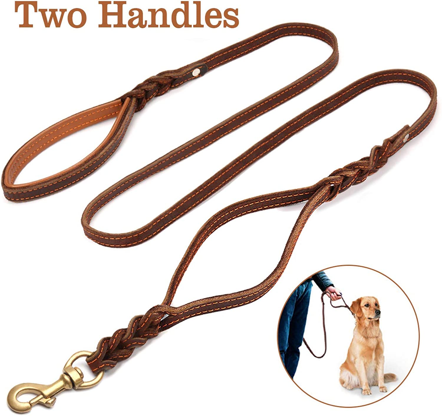 FOCUSPET Heavy Duty Leather Dog Leash with 2 Handles,Padded Traffic Handle for Extra Control,6Ft Dog Training Walking Leashes for Medium Large Dogs