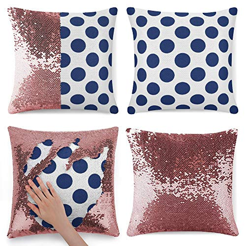 Tamengi Sequin Pillow Cover, Large Navy Polka Dots Round, Zipper Pillowslip Pillowcase, Decorations for Sofas, Armchairs, Beds, Floors, Cars