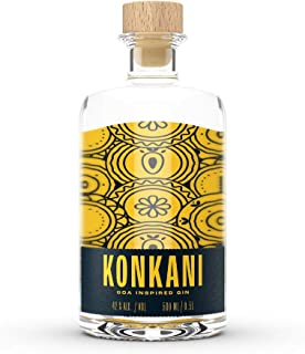 Konkani Goa Inspired Gin 1x 0.5l Fruchtig leichter handcrafted Gin mit Mango, Curaçao, Litsea Cubeba