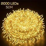 Elegear Luci Natale Esterno 50M 2000 LEDs Impermeabile Catena Luminosa LED Illuminazione d...
