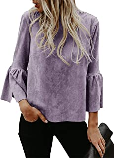 Chellysun Womens Bell Sleeve Tops Suede Crew Neck Casual Fall Cute T Shirt Blouse