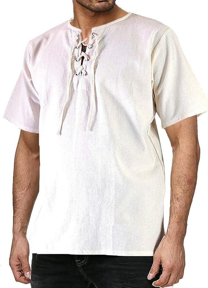Bslingerie Mens Ruffle Medieval Pirate Shirt Viking Renaissance Costume
