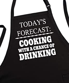 Men's BBQ Aprons Cooking with A Chance of Drinking, Fully Adjustable, Two Pockets, Extra Long Ties