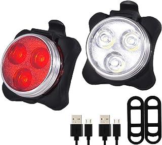JGRZF Bike Light Set USB Rechargeable Bicycle Light Front and Back Bike Lights Super Bright Waterproof 4 Light Mode Options (Bike Light Set,Front Light)