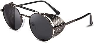 Steam Punk Sunglasses for Men Women Side Shield Round Steampunk Vintage Glasses Shades B2518