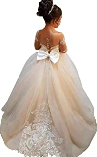 GZY White Ivory Lace Long Sleeve Flower Girl Dresses Princess Gown Pageant Dress GZY202