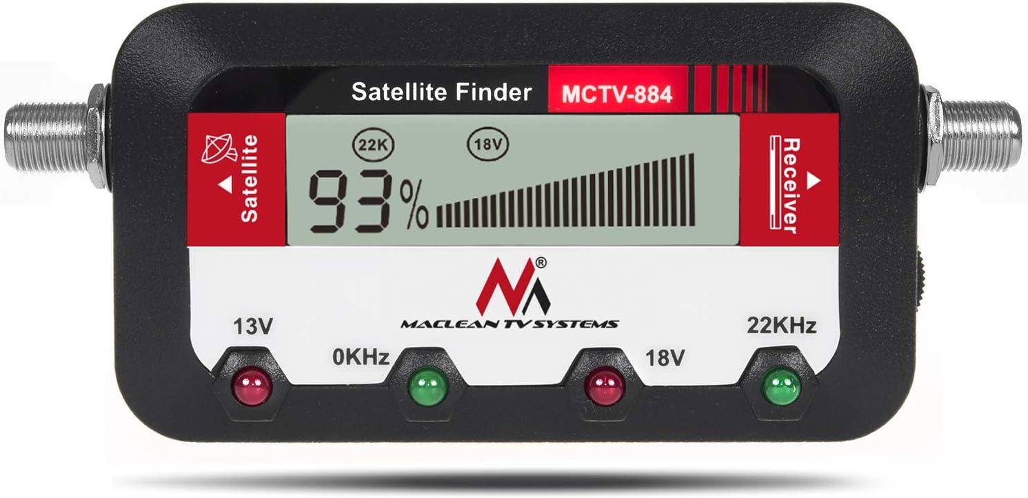Maclean MCTV-884 Buscador medidor de señal de satélite con Pantalla Digital 25cm FF LCD
