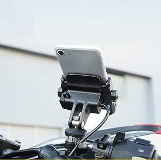 NikoMaku Motorcycle Phone Holder with Charger Phone Mount 5V 2A USB Port Metal Aluminum Alloy Handlebar Holder 360° Adjustable 4-6.6 inch Mobile Phone, iPhone Samsung BlackBerry etc.