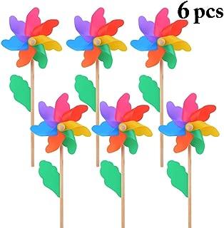 B bangcool Wind Spinners Lawn Pinwheels Sunflower Rainbow Wind Spinner Windmills Party Pinwheel for Patio Lawn & Garden (6Pcs)