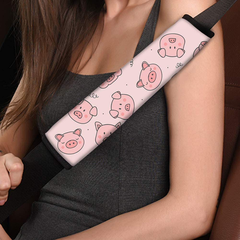 KEIAHUAN 2pcs Universal Car Seat Belt Pads Cover Cute Pink Pig Print Vehicle Seat Belt Comfort Shoulder Pads for Adults and Children