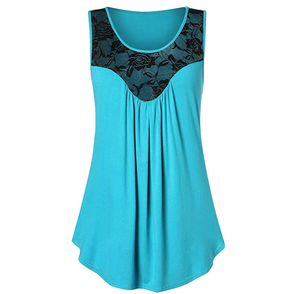 Tank Tops for Women,Jchen Ladies Lace Patchwork Shirts Sexy Pleated Sleeveless Tunic Tops T-Shirts Blouse