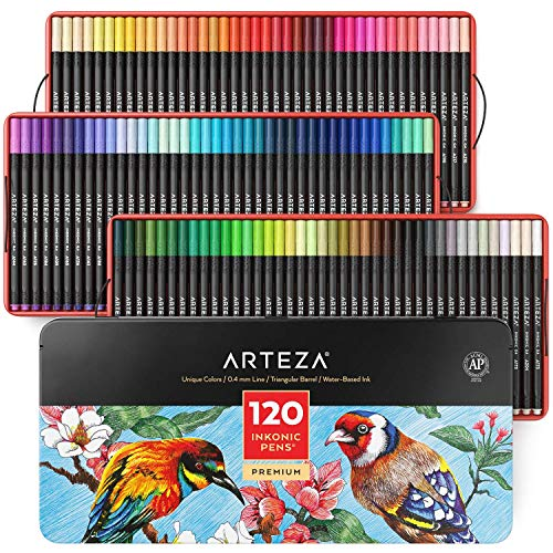 Arteza Fineliner Fine Point Pens, Set of 120 Fine Tip Markers with Color Numbers, 0.4mm Tips, Ergonomic Barrels, Brilliant Assorted Colors for Coloring, Drawing & Detailing