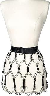 keland Frauen sexy Punk Leder Korsett Kleid Kleid mit Fransen Gürtel Gürtel Rock