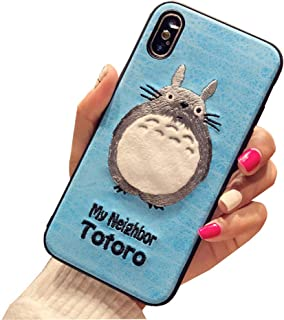 BONTOUJOUR iPhone 7/iPhone 8 Case, Lovely Embroidery My Neighbor Totoro Pattern TPU Case 360 Degree Full Body Strong Protection Girls Case for iPhone 7/iPhone 8 - Totoro Blue