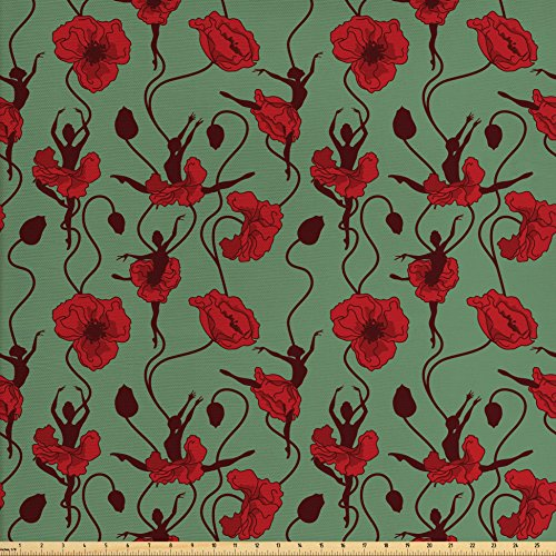 Ambesonne Poppy Fabric by The Yard, Floral Arrangement with Abstract Ballerina Dance Themed Botanical Print, Decorative Fabric for Upholstery and Home Accents, Green Chesnut Brown Red