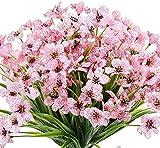 6 Piezas Flores Violeta Artificiales, Plantas Decorativas de Interior y Exterior,Resistentes a los Rayos UV,no se decoloran, para jardín, hogar, Boda, Granja decoración (Rosado)