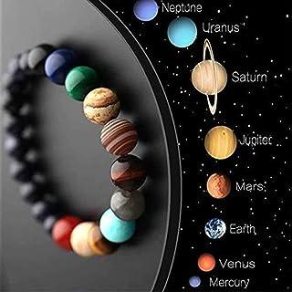 ZODRQ Unisex Bracelet,Unquie Solar System Eight Planet Themed Natural Stone Beaded Bracelet(Black)