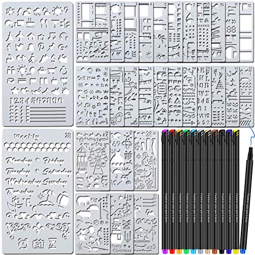 TEOYALL 42 Pcs Journal Planner Stencils Plastic Stencils with 12 Color Fineliner Pens DIY Stencils Set for Notebook Diary