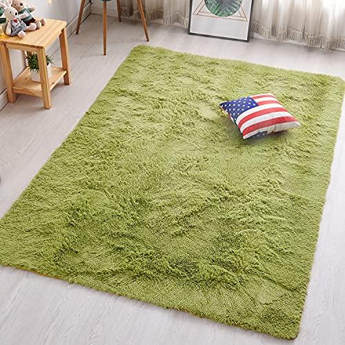PAGISOFE Soft Shag Green Furry Area Rugs for Living Room Bedroom Kids Room Rug Fluffy Comfy Floor Carpet for Nursery Modern Plush Home Center Decorative Rug Cheap Fur Green Rug Mat 4' x 5'