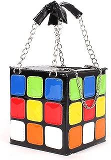 Women's Leather Shoulder Bag Novel Colorful Magic Rubik's Cube PU Totes Handbag