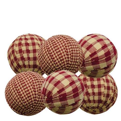 Rag Balls Set of 6 Burgundy Gingham 2.25 In. Diameter Bowl Filler Country Prim Decor