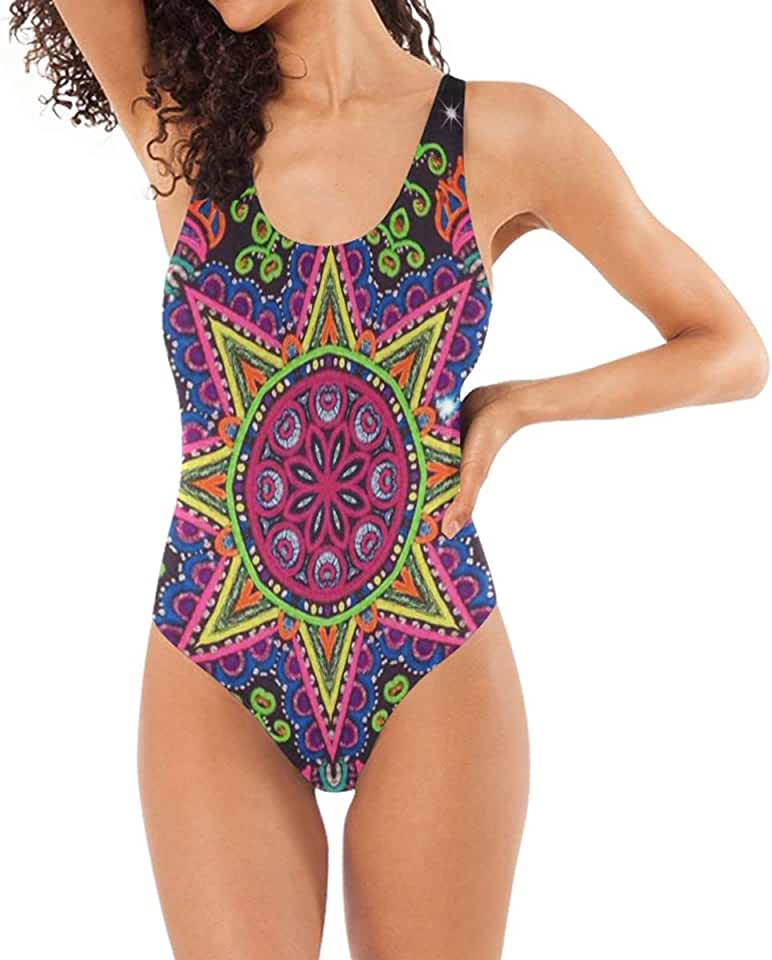 Women's Training One Piece Swimsuits Shiny Colorful Mandalas Floral Bathing Suits Cover Up Slimming Control Female Swimsuit Bikini Black