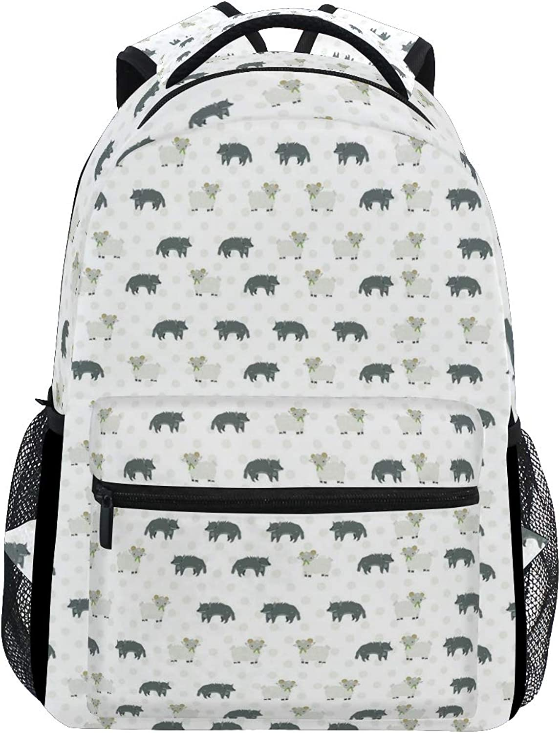 Big Wolf and Little Sheep Large Backpack Travel Outdoor Sports Laptop Backpack for Women & Men College School Water Resistant