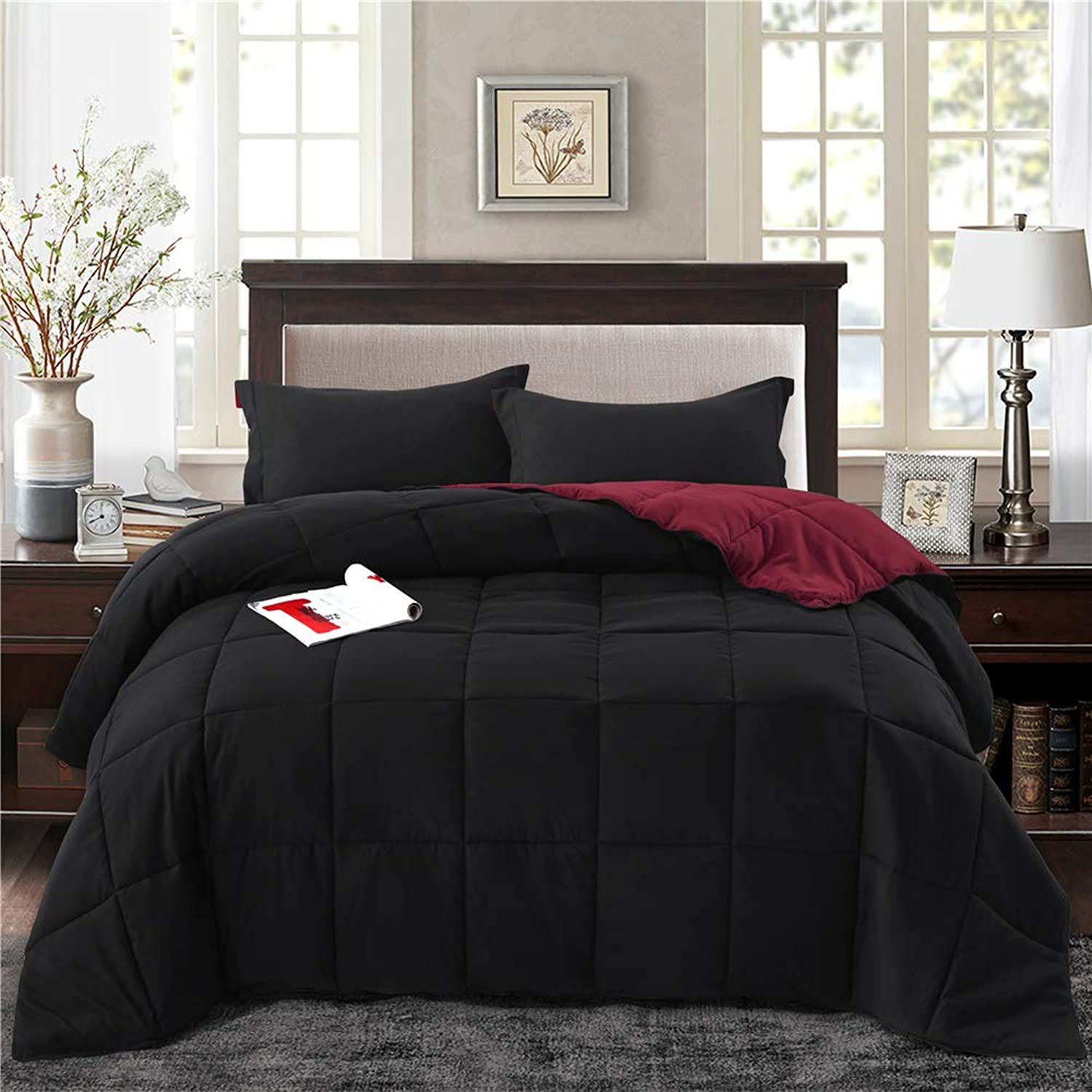 HIG 3pc Down Alternative Comforter Set - All Season Reversible Comforter with Two Shams - Quilted Duvet Insert with Corner Tabs -Box Stitched –Hypoallergenic, Soft, Fluffy (King CK, Black Burgundy)