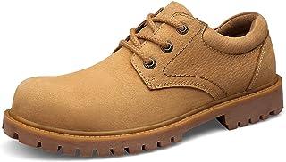 FHUA Bottes de randonnée pour Hommes Round Toe Lace up 3-Eye Bas Haut Haut Heel Plain Stitiching Mattre en Cuir Véritable ...