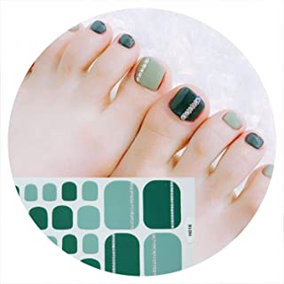 22tips/sheet Toe Nail Stickers Waterproof Fashion Toe Nail Wraps Nail Art Full Cover Adhesive Foil Stickers Manicure Decals,11