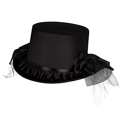 Ladies Victorian Satin Top Hat 18th Century Dickensian Edwardian Fancy  Dress Cosplay 77dfd65ec19