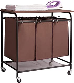 HollyHOME 3-Bag Heavy-Duty Laundry Sorter Cart with Ironing Board Laundry Room Organizer with Casters Brown