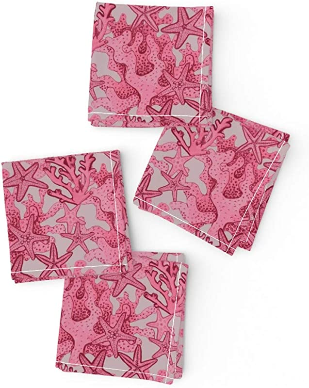Pink Coral Starfish Organic Cotton Sateen Cloth Cocktail Napkins Watercolor Beach Ocean Reef Nautical Magenta Rose Designs Endangered Species By Magentarosedesigns Set Of 4 10 X 10in